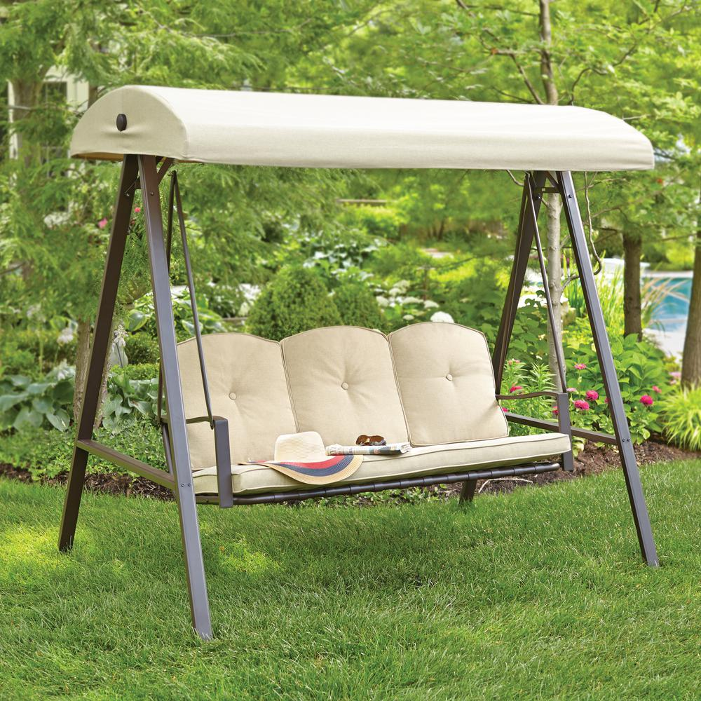 outdoor swings hampton bay cunningham 3-person metal outdoor swing with canopy DGBUNPE