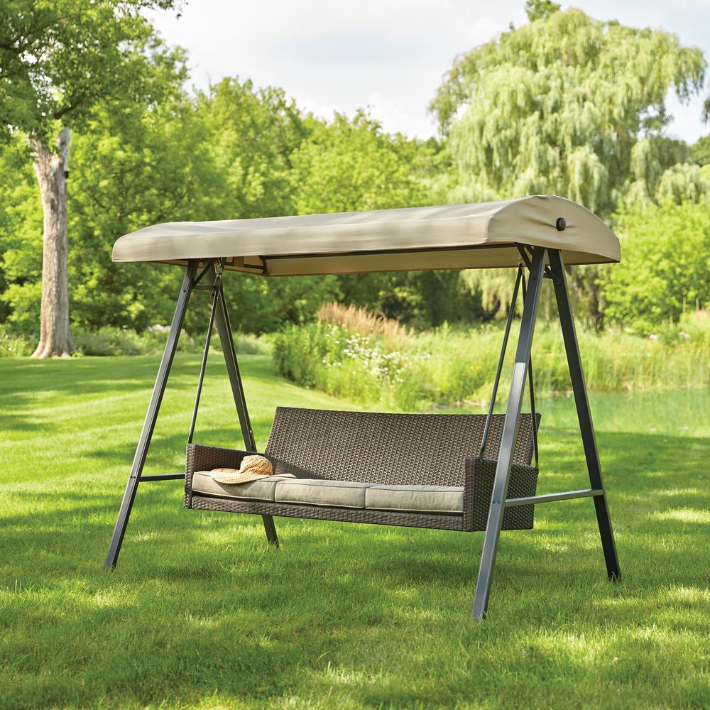 outdoor swings hampton bay plaistow 3-person wicker outdoor swing with canopy IIEDPEX