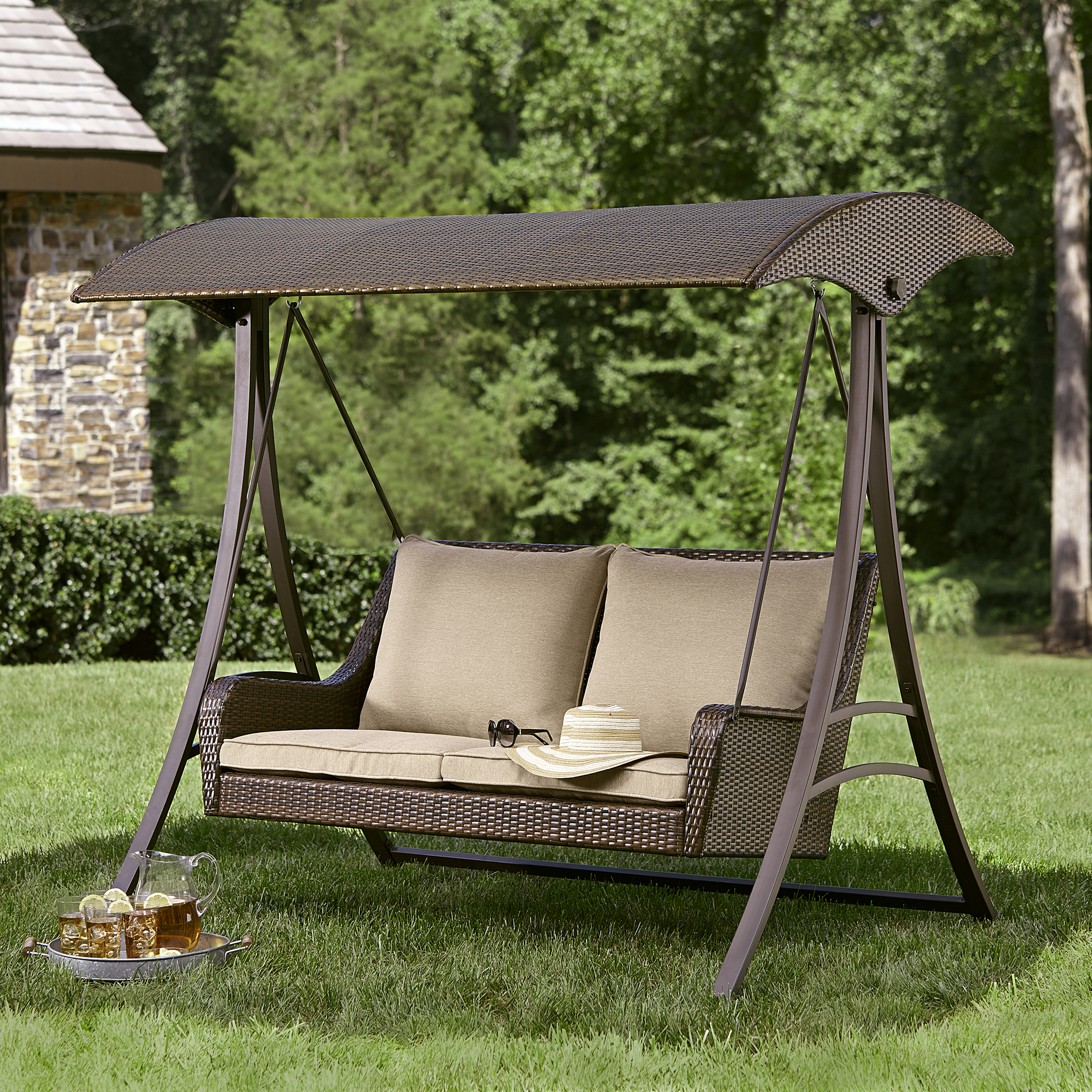 outdoor swings ty pennington style parkside resin wicker swing - limited availability - AKTGMEN