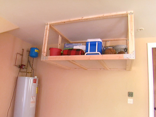 overhead garage storage shelf video | diy HXNWWML