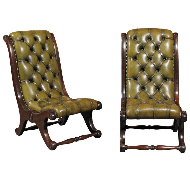 pair of english leather tufted slipper chairs ABDUIFS