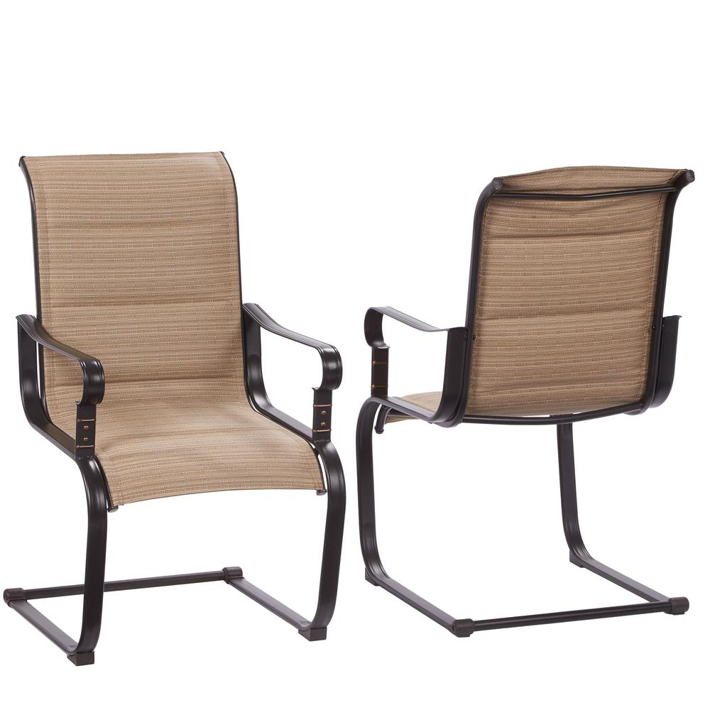 patio chairs hampton bay belleville rocking padded sling outdoor dining chairs (2-pack) UNYCSHF