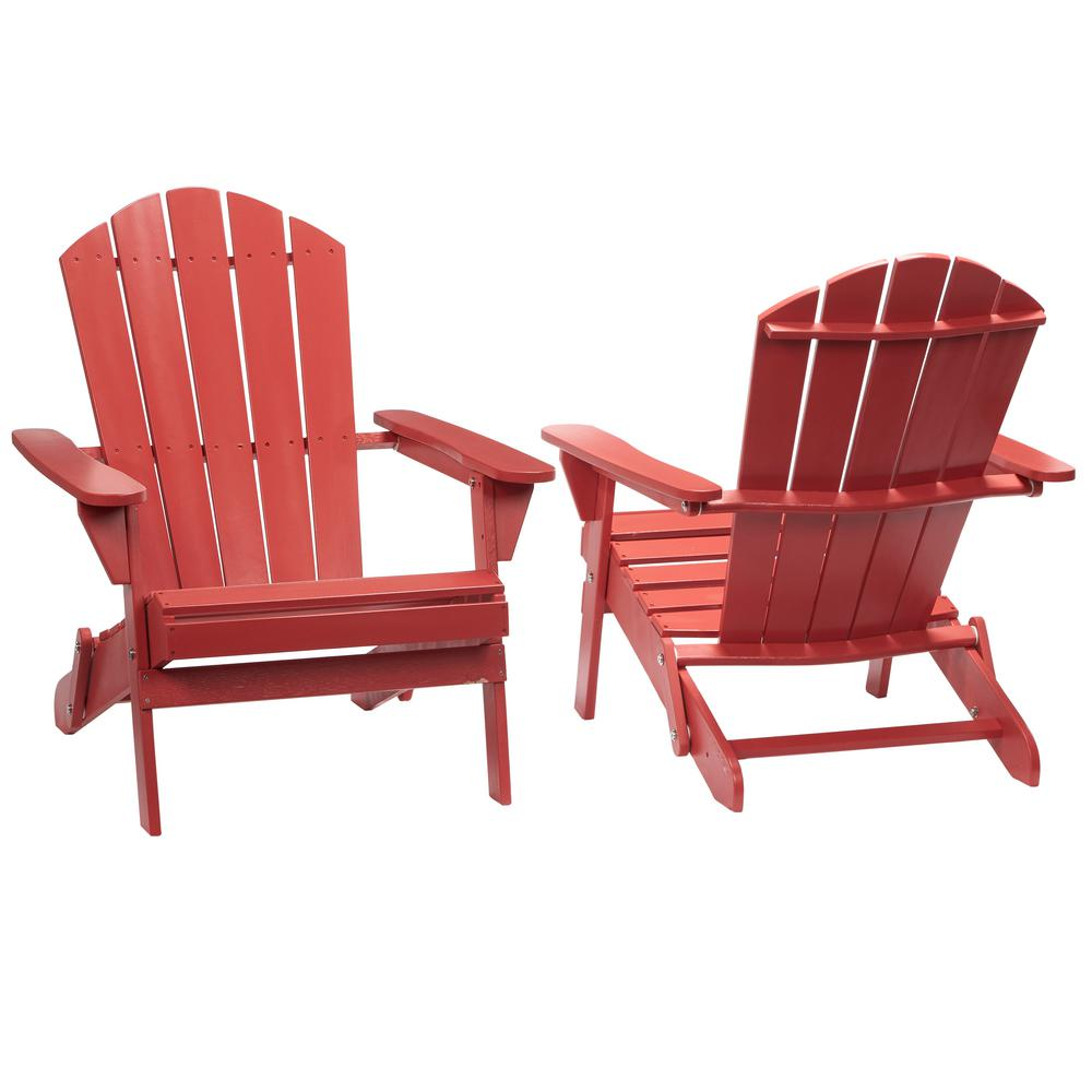 patio chairs hampton bay chili red folding outdoor adirondack chair (2-pack) YEMRORG
