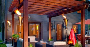 patio ideas 1. turn up the heat with a glowing pergola BFWLWDD