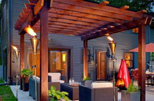 patio ideas 1. turn up the heat with a glowing pergola BFWLWDD