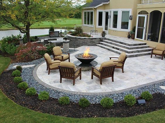 patio ideas stairs, firepit, paver patio with travertine, back yards, patio EALQUXU