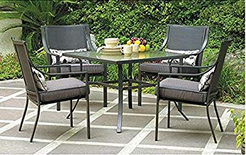 patio table and chairs amazon.com: gramercy home 5 piece patio dining table set: garden u0026 XBRDLNA