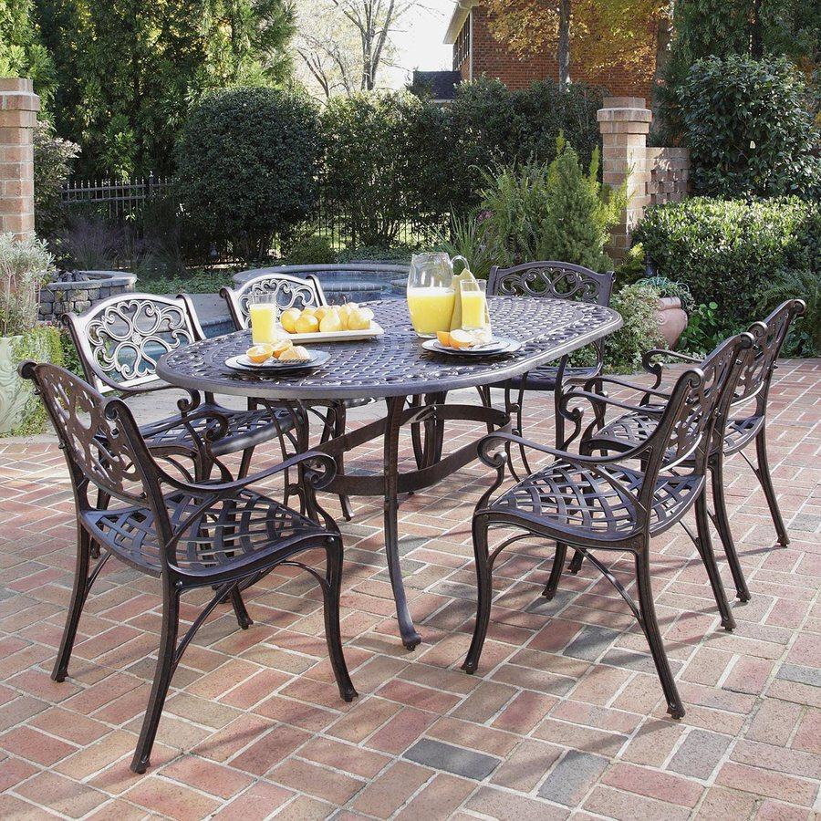 patio table and chairs display product reviews for biscayne 7-piece bronze metal frame patio KATEFDO