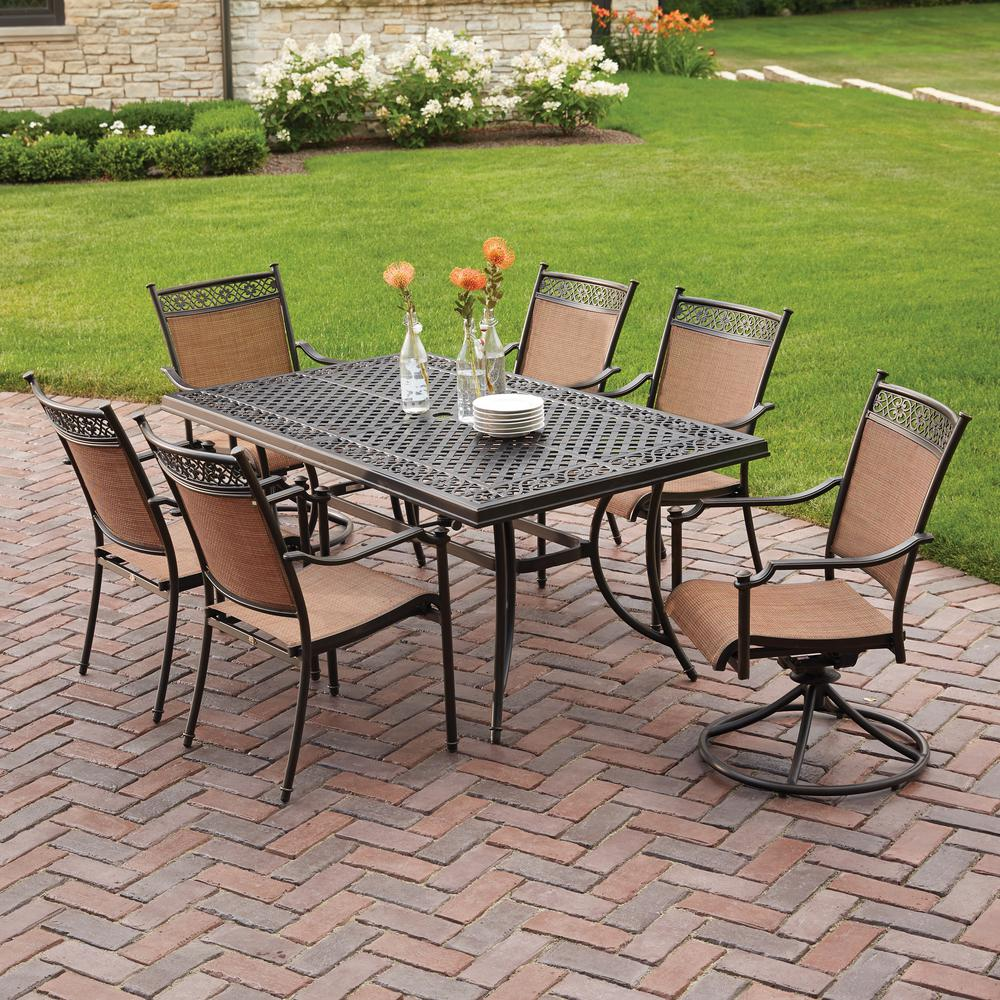 patio table and chairs hampton bay niles park 7-piece sling patio dining set GIEBKRH