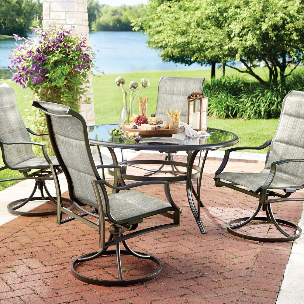 patio table and chairs hampton bay statesville 5-piece padded sling patio dining set with 53 GTBXVOA
