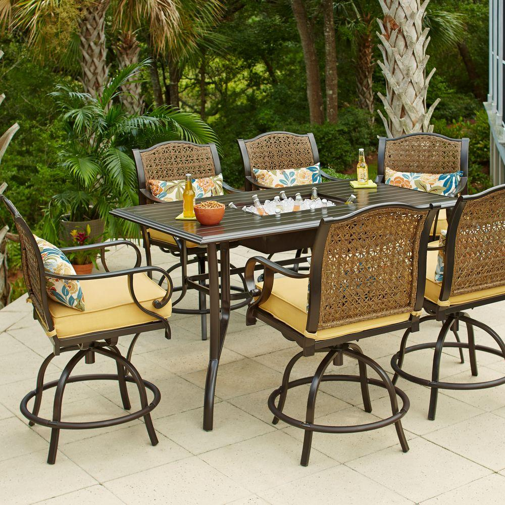 patio table and chairs hampton bay vichy springs 7-piece patio high dining set SJDHXJY