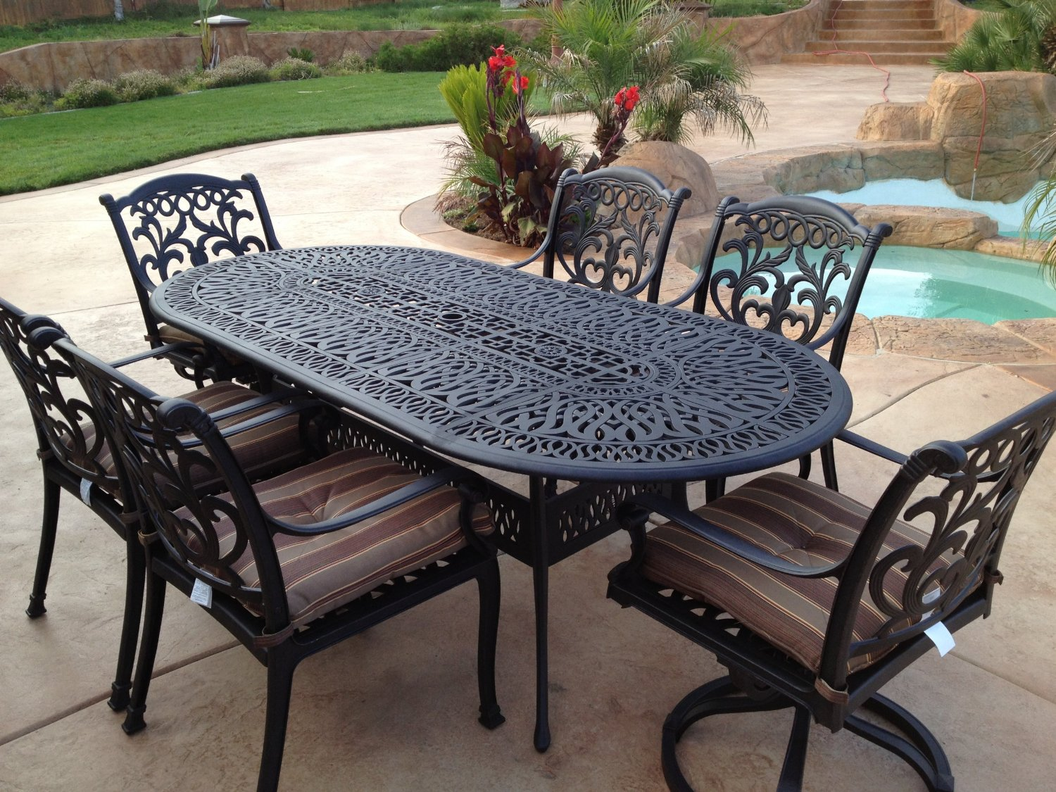 patio table and chairs wrought iron patio furniture SOWNYVT
