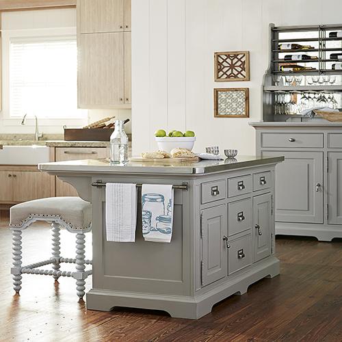paula deen the dogwood grey kitchen island UIIGPBO