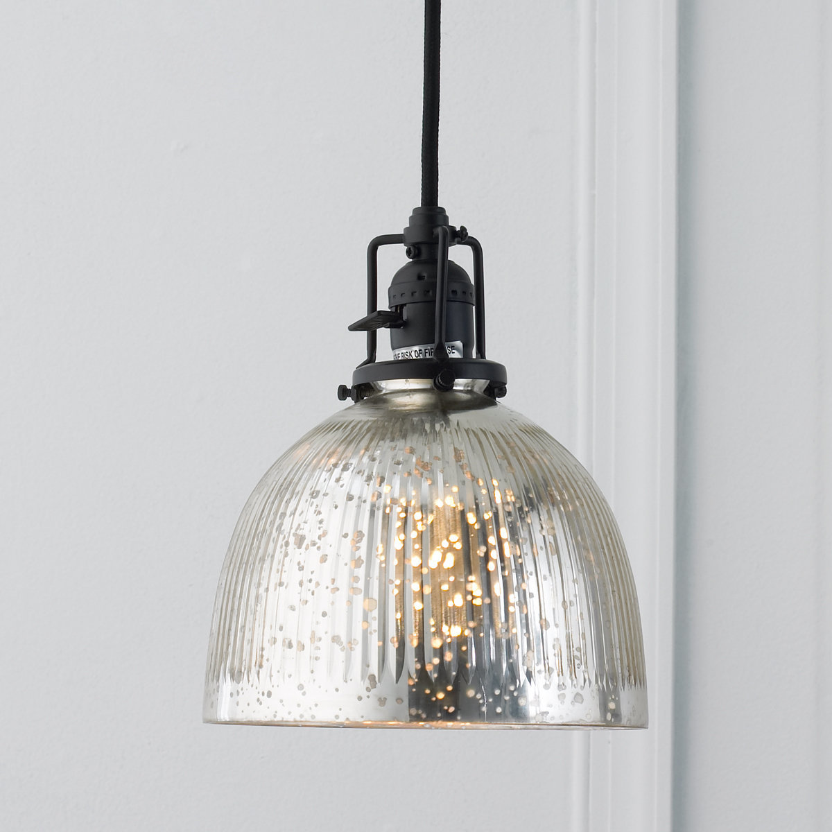 pendant light shades ribbed dome mercury glass shade pendant light bronze_and_mercury_glass ESOEKCP