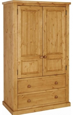 pine wardrobes devonshire chunky pine double wardrobe - 2 door 2 drawer OHYPPZQ