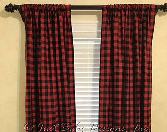 plaid curtains red and black plaid ... TDGTRIM