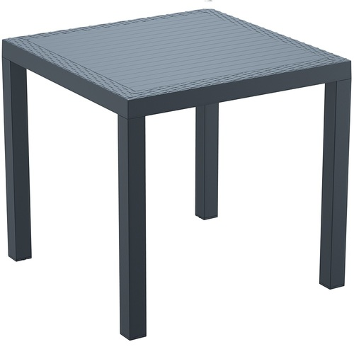 plastic garden table madrid rattan effect square garden table dark grey angle CWCXDYP