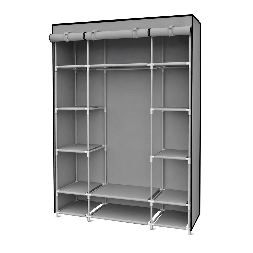 portable closet h gray storage closet with shelving QOWAQXU