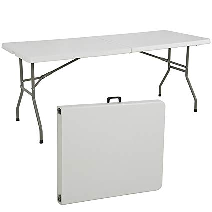 portable folding table best choiceproducts folding table portable plastic indoor outdoor picnic  party YMSAUHJ