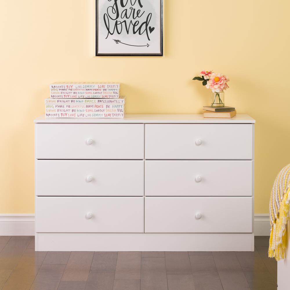 prepac astrid 6-drawer white dresser YFFKXUH