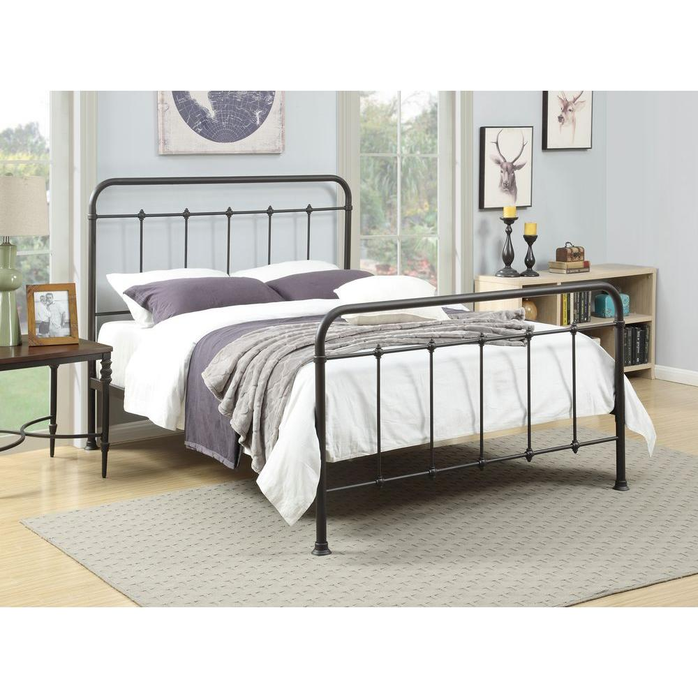 pri all-in-1 brown queen bed frame OSANOOZ