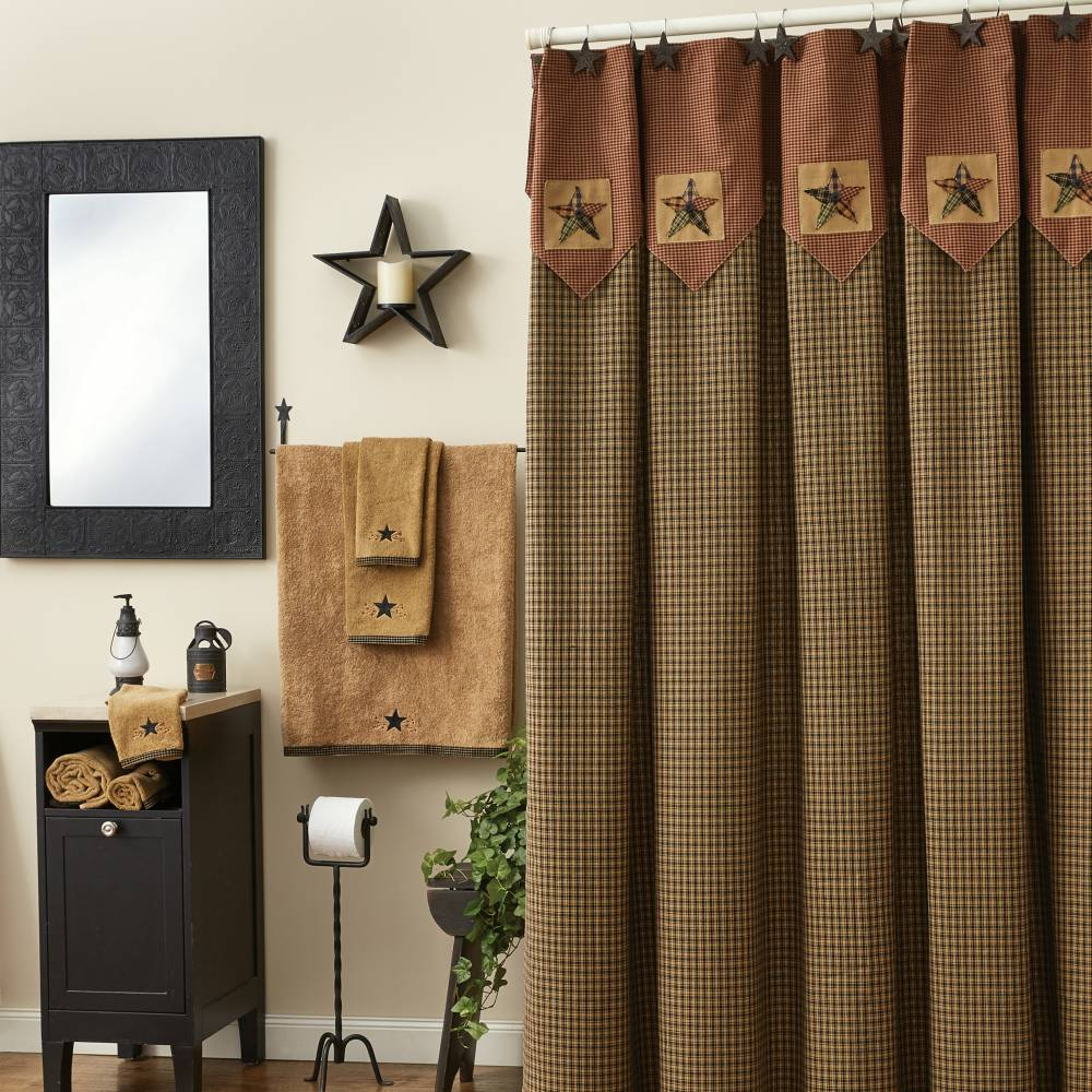 primitive curtains ... pieced star shower curtain. view all primitive décor XZTUBAV