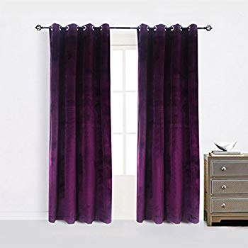 purple curtains cherry home set of 2 blackout velvet energy efficient grommet curtain JTWEMZF