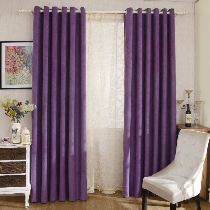 purple curtains thick chenille fabric romantic purple blackout and insulated bedroom  curtains EMOMWZH