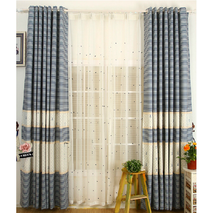quality white/blue cotton kids striped/nautical curtains UPIYNTA