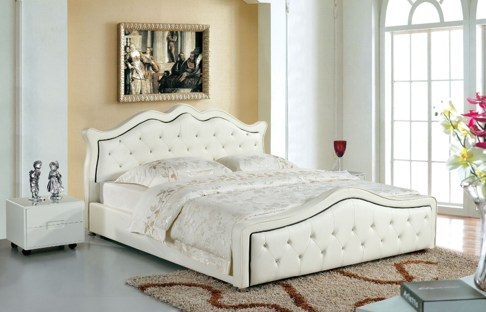 queen size beds designer modern genuine real leather soft bed/double bed king/queen size NFQUCOC