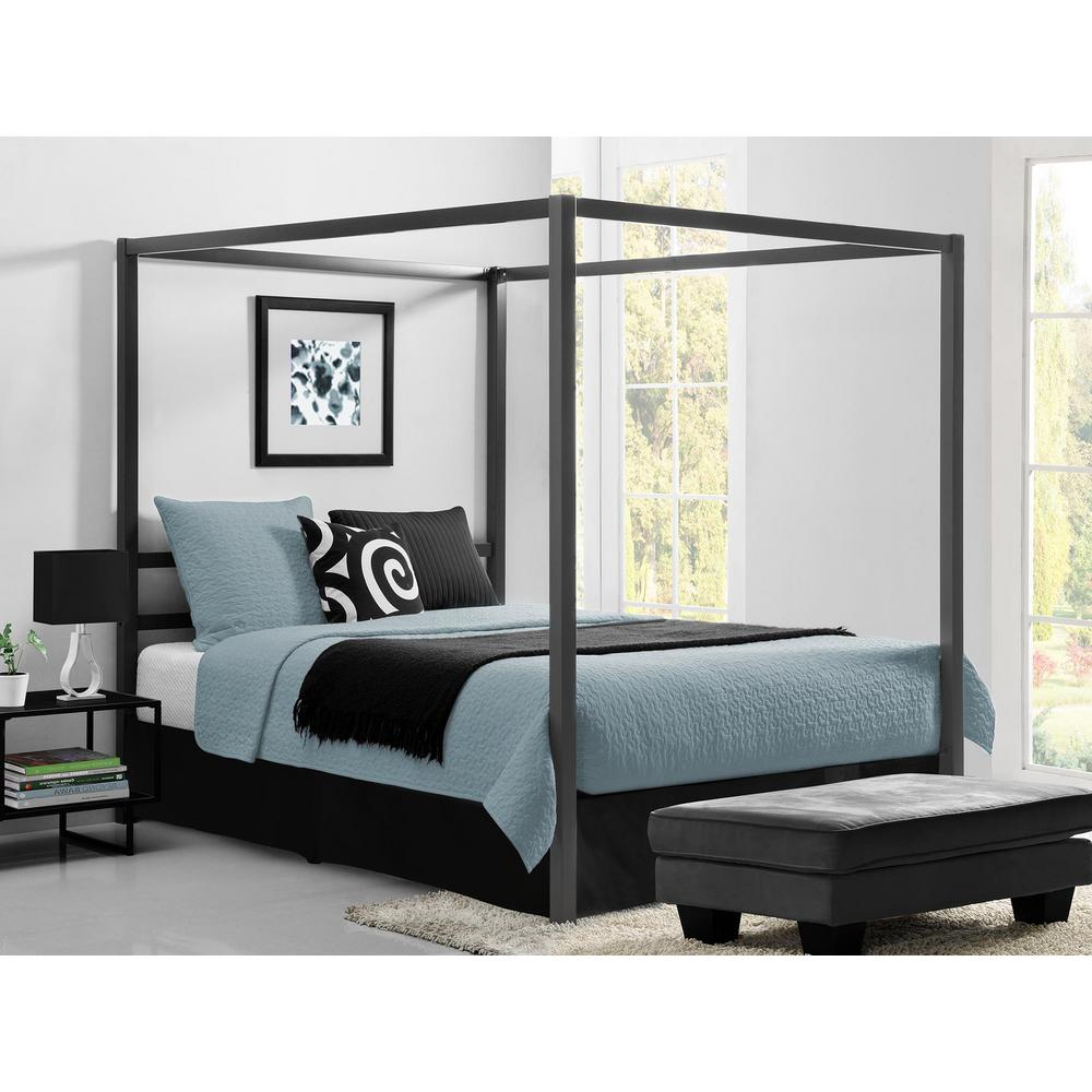 queen size beds dhp modern canopy metal queen size bed frame in gunmetal grey LIZAVMX