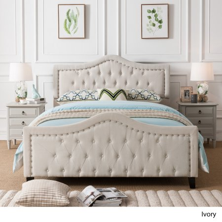 queen size beds fully upholstered queen bed in ivory - walmart.com LDNTLKV