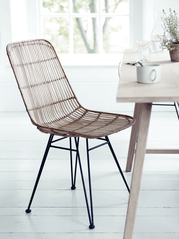 rattan dining chairs flat rattan dining chair - natural TXELDCZ