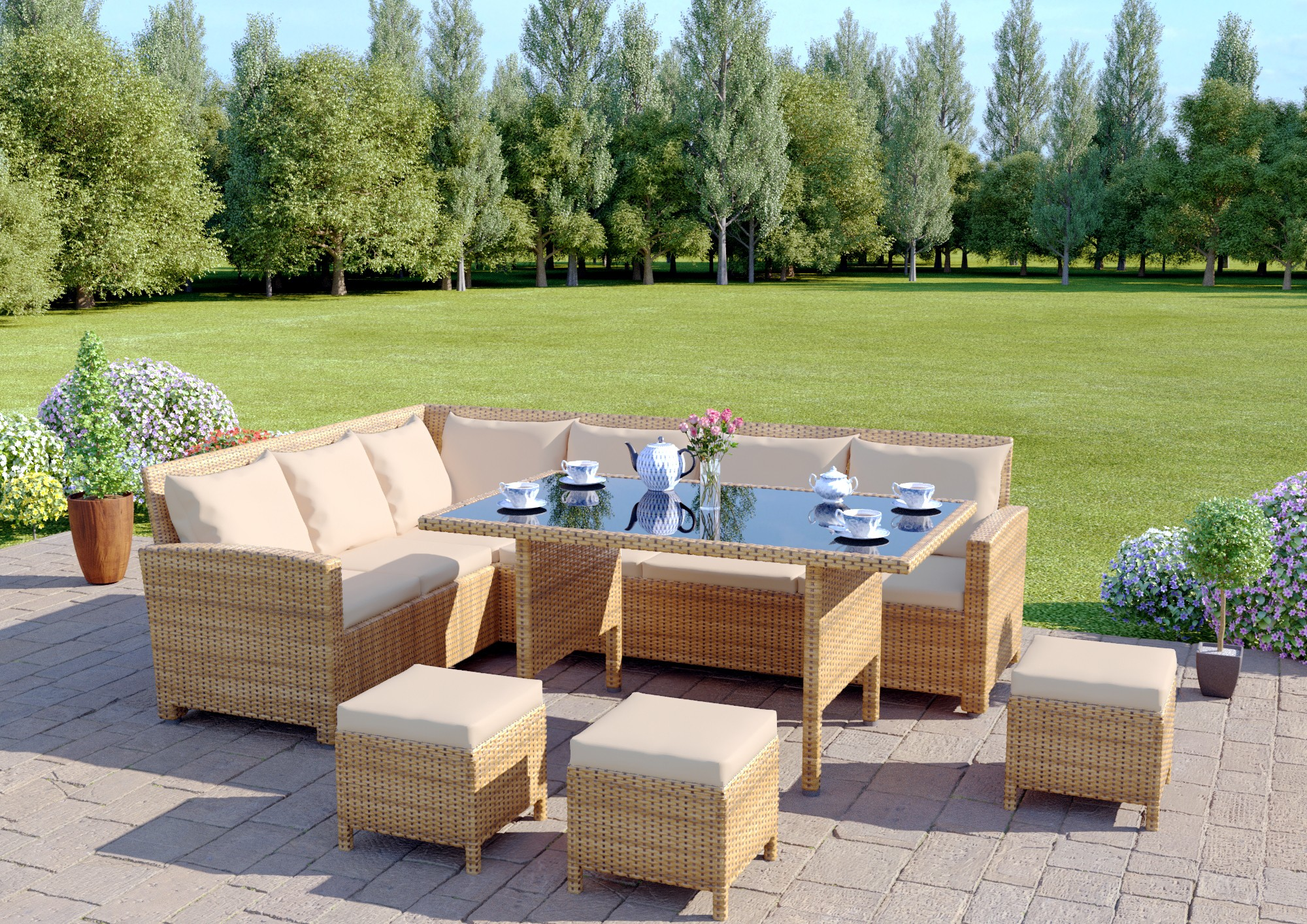 rattan furniture ... 9 seat light brown rattan garden furniture corner sofa dining AJYUKOS