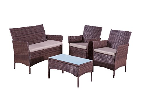 rattan furniture alexander morgan am702 classic garden rattan sofa set - brown: XZIOFCN