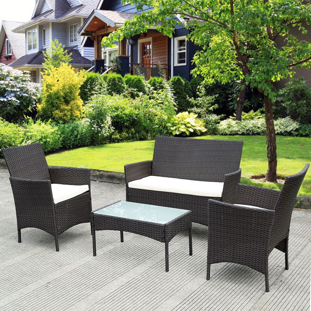 rattan furniture costway 4 pc patio rattan wicker chair sofa table set outdoor JAJEPGU