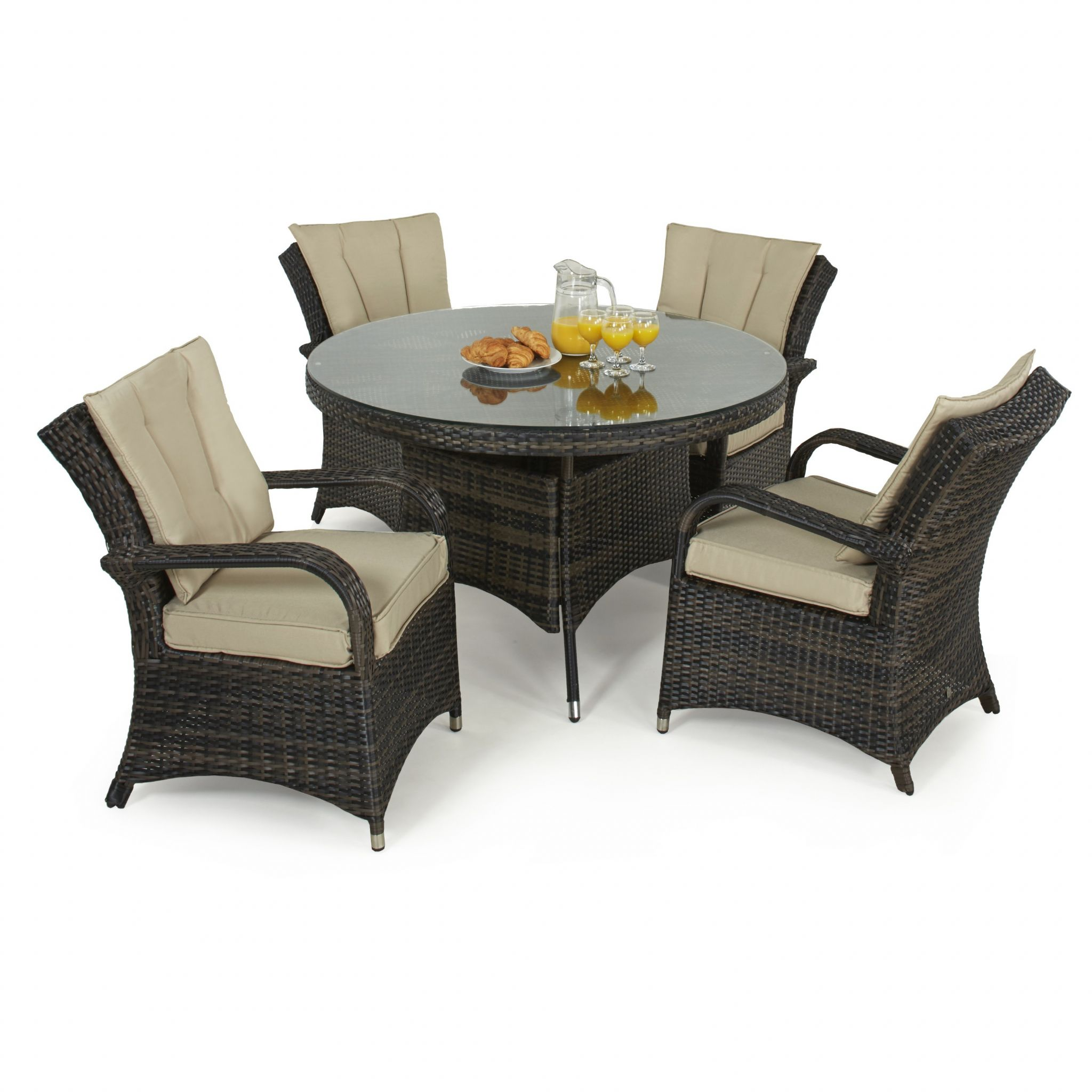 rattan furniture maze rattan 4 seat texas round dining garden furniture set - LTZNBYF