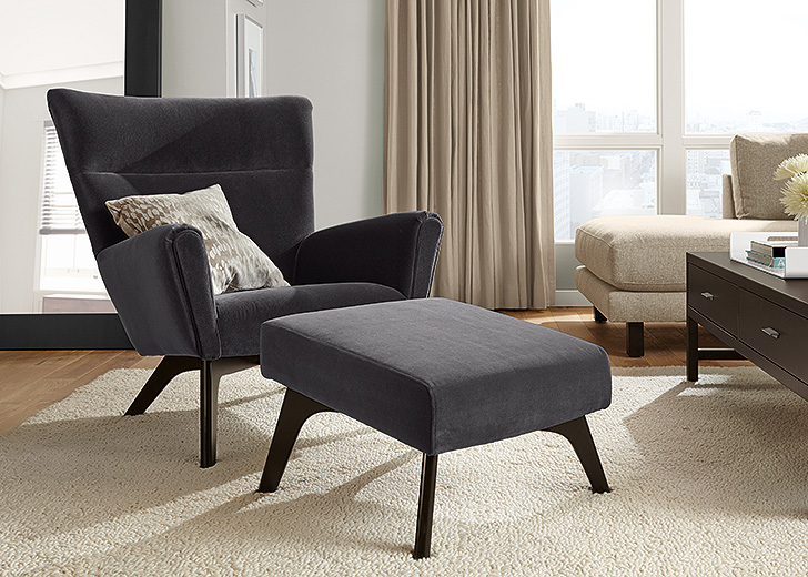 reading chair and ottoman boden chair and ottoman in vorto graphite. IVKBTLJ