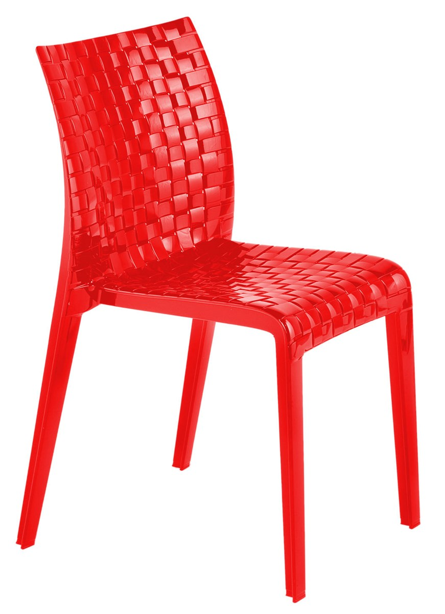 red chair glossy opaque red color GDFMNRV