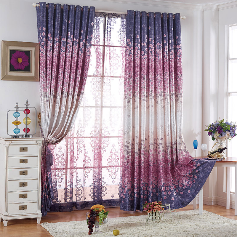 romantic flower patterns energy saving deep purple curtains ITABUNH