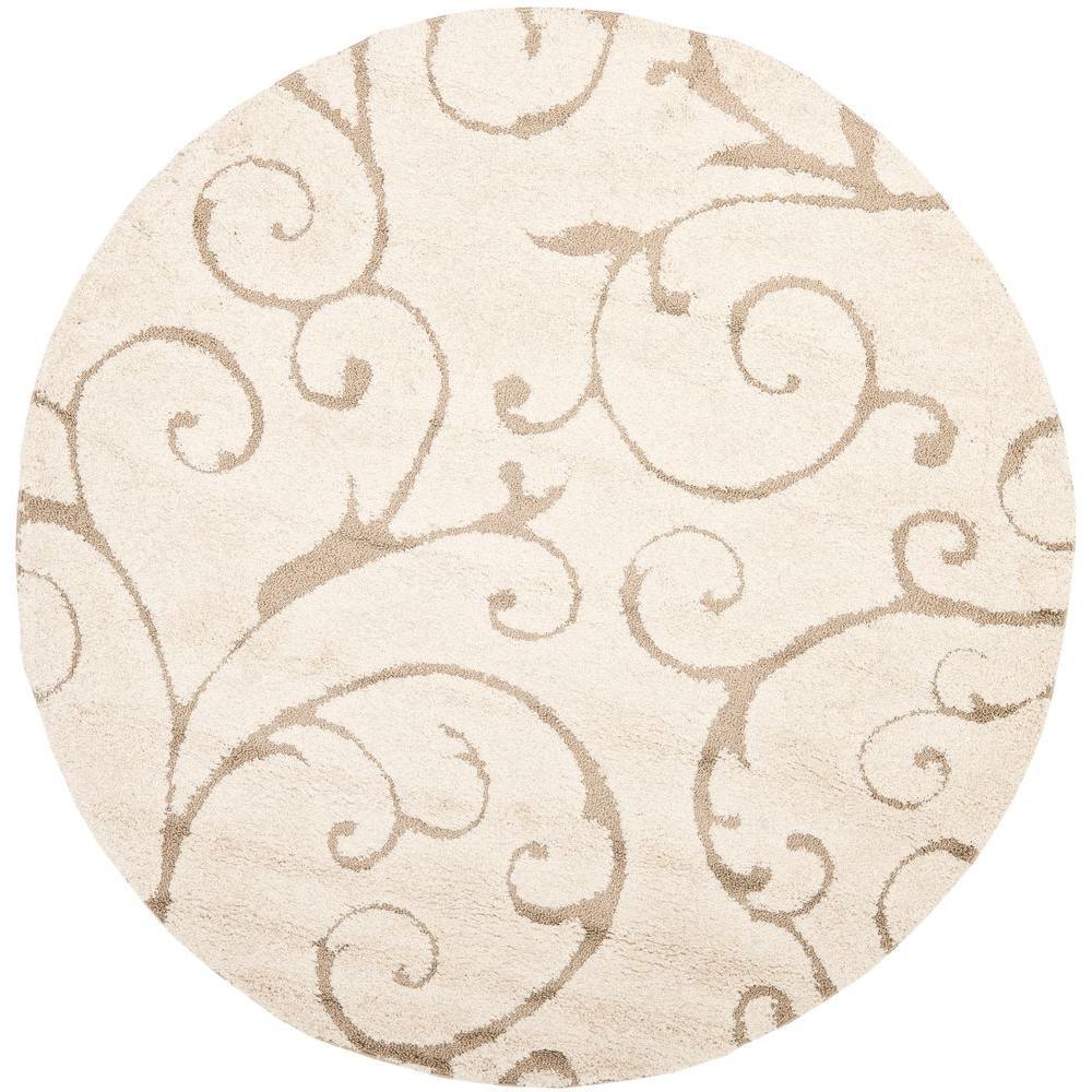 round area rugs safavieh florida shag cream/beige 5 ft. x 5 ft. round area QFZXBQO