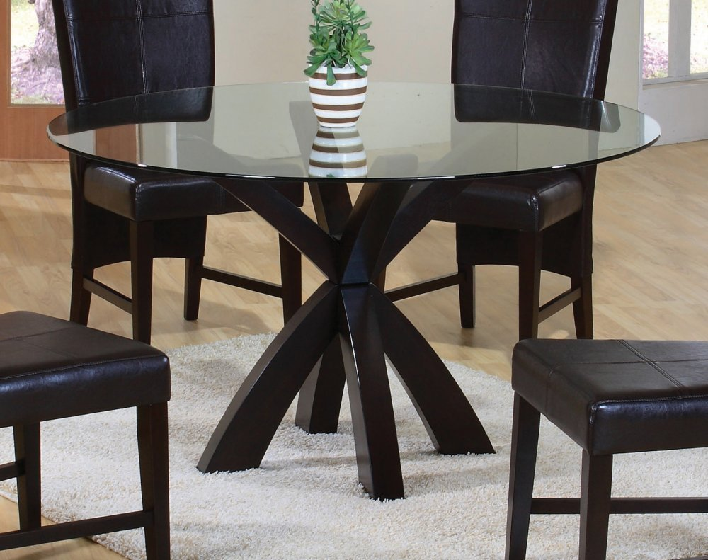 round glass dining table glass top dining table set 4 chairs EQWGMKS