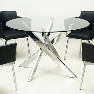 round glass dining table somette round glass top chrome dining table ZVTBRKM