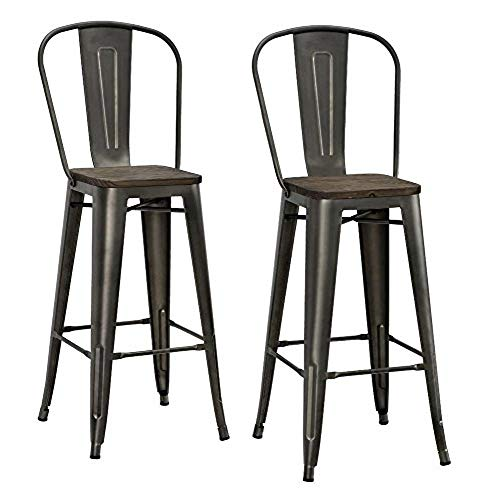 rustic bar stools dhp luxor metal counter stool with wood seat and backrest, set GJZLRKZ