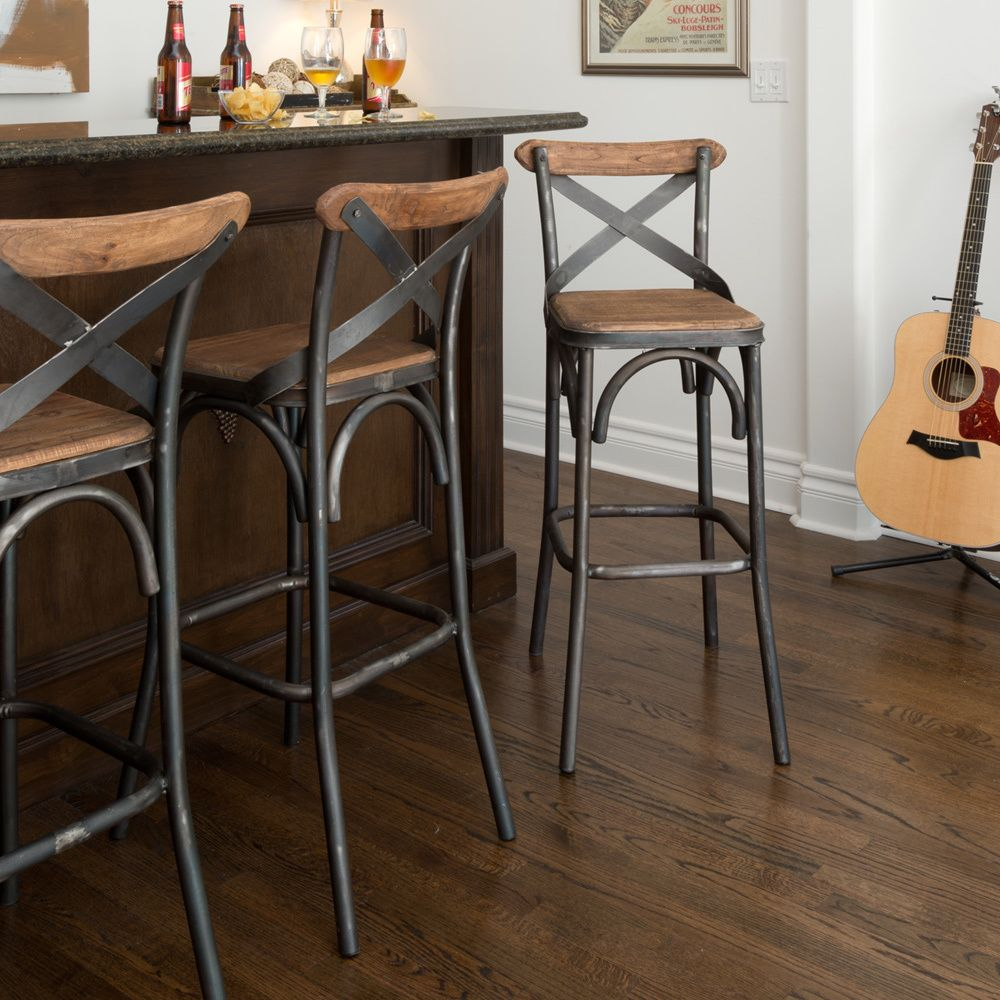 rustic bar stools kosas home dixon rustic brown and black reclaimed pine and iron AOFNLWH