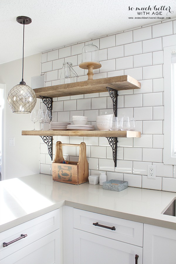 rustic barn wood kitchen shelves | somuchbetterwithage.com KDWLBWO