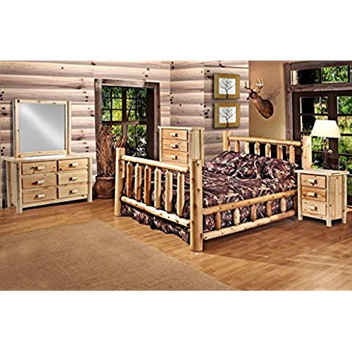 rustic bedroom furniture rustic 5 pc pine log bedroom suite lodge bed (queen) RJHGOCD