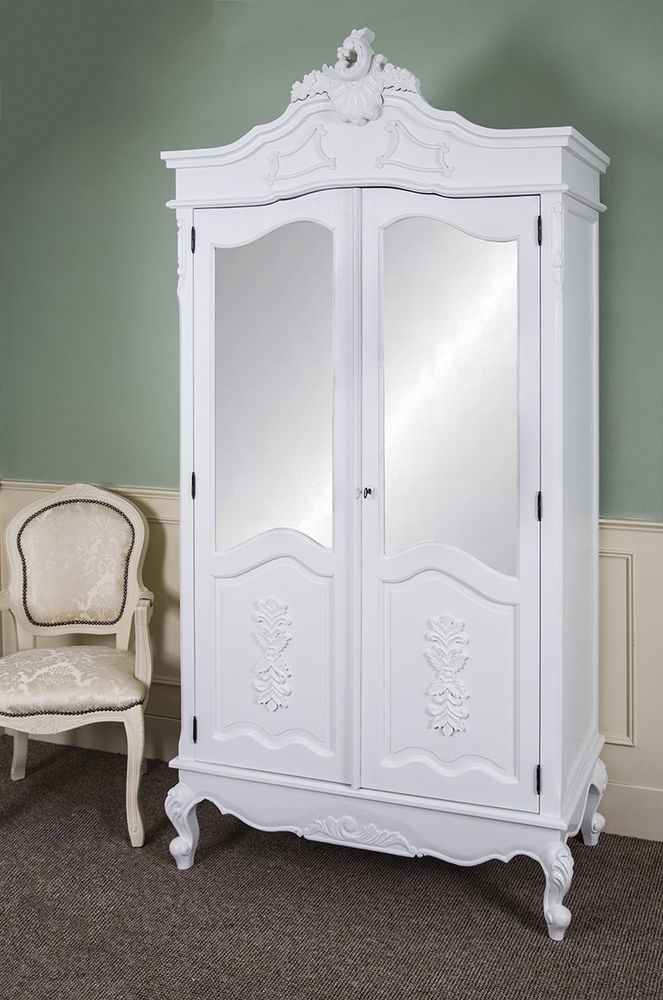 shabby chic wardrobe french double wardrobe white hand carved mirrored armoire antique shabby GOGVJBO