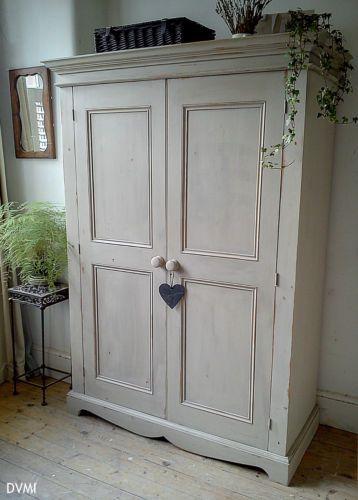 shabby chic wardrobe pretty painted vintage shabby chic knockdown pine wardrobe | ebay OXIXPQK