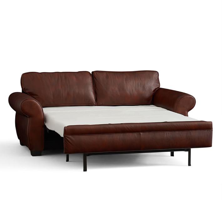 sleeper sofas pearce leather deluxe sleeper sofa | pottery barn QGZJQRI